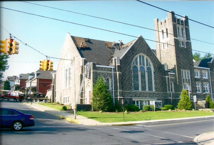 This is a picture of the Christ United Method Church located on Berwick St. in Easton, PA. We were contracted to install a new shingle roof.